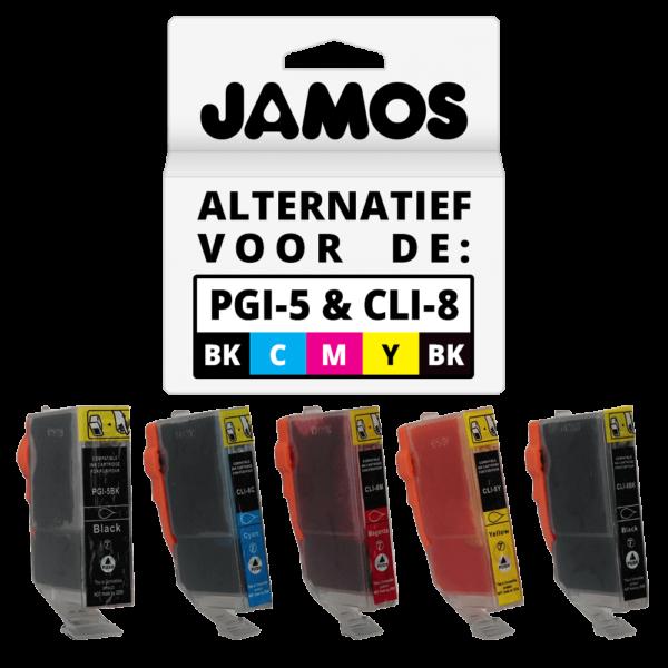 JAMOS Inktcartridges Alternatief voor de Canon PGI-5PGBK CLI-8BKCMY Voordeelset