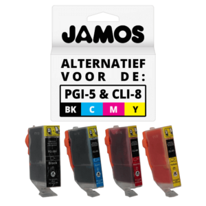 JAMOS Inktcartridges Alternatief voor de Canon PGI-5PGBK CLI-8CMY Voordeelset
