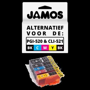JAMOS Inktcartridge Alternatief voor de Canon PGI-520PGBK CLI-521BKCMY Voordeelset