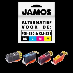 JAMOS Inktcartridge Alternatief voor de Canon PGI-520PGBK CLI-521CMY Voordeelset