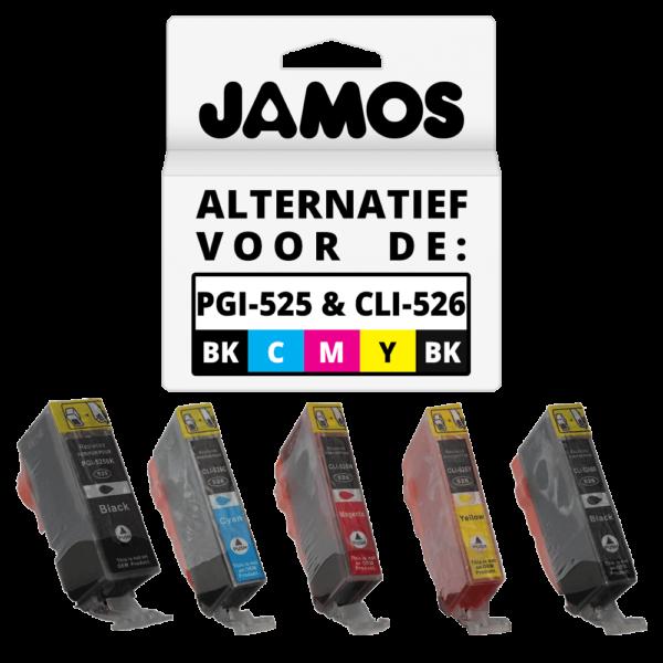 JAMOS Inktcartridge Alternatief voor de Canon PGI-525PGBK CLI-526BKCMY Voordeelset