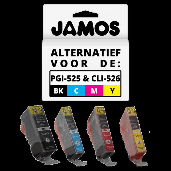 JAMOS Inktcartridge Alternatief voor de Canon PGI-525PGBK CLI-526CMY Voordeelset
