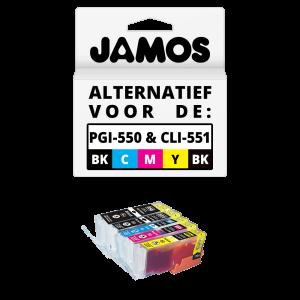 JAMOS Inktcartridge Alternatief voor de Canon PGI-550PGBK & CLI-551BKCMY XL Voordeelset