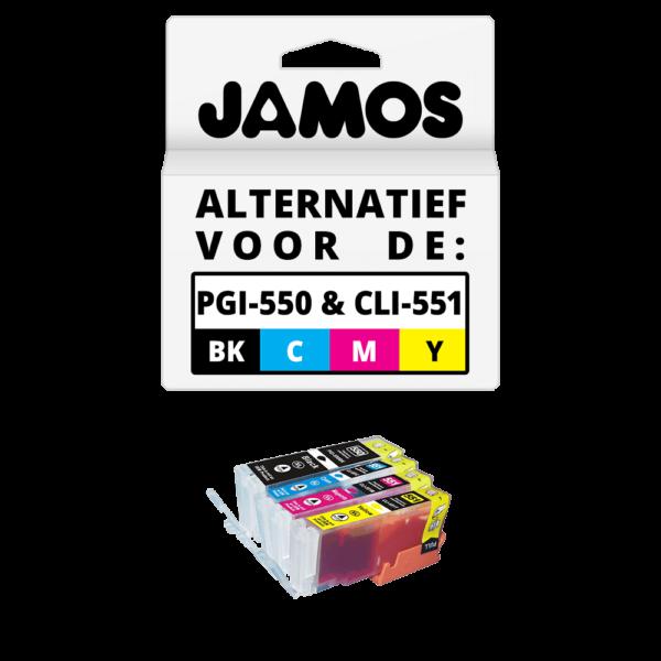 JAMOS Inktcartridge Alternatief voor de Canon PGI-550PGBK & CLI-551CMY XL Voordeelset