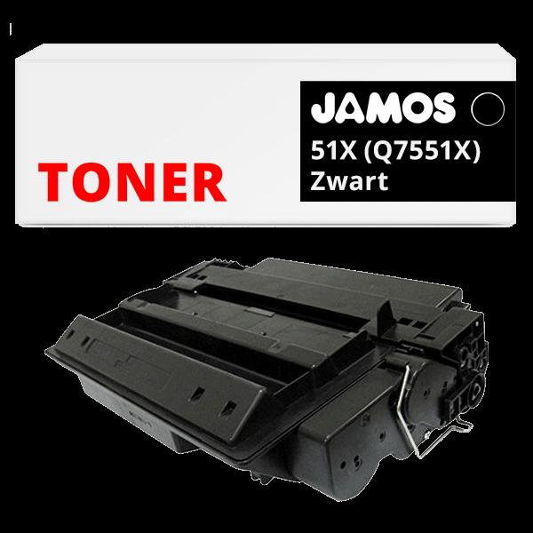 JAMOS Tonercartridge Alternatief voor de HP 51X Zwart Q7551X