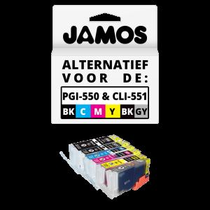 JAMOS Inktcartridges Alternatief voor de Canon PGI-550PGBK CLI-551BKCMYGY XL Voordeelset