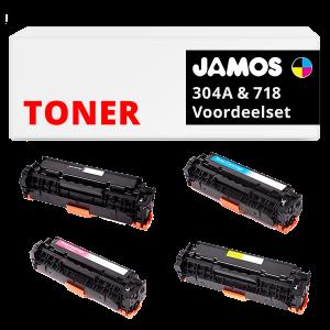 JAMOS Tonercartridges Alternatief voor de HP 304A Canon 718 Voordeelset