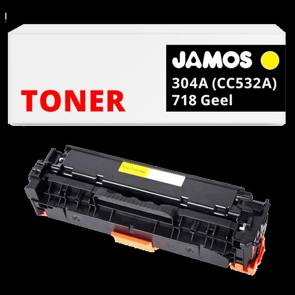 JAMOS Tonercartridge Alternatief voor de HP 304A Geel CC532A Canon 718 Geel