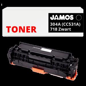 JAMOS Tonercartridge Alternatief voor de HP 304A Zwart CC530A Canon 718 Zwart