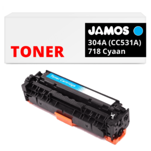 JAMOS Tonercartridge Alternatief voor de HP 304A Cyaan CC531A Canon 718 Cyaan