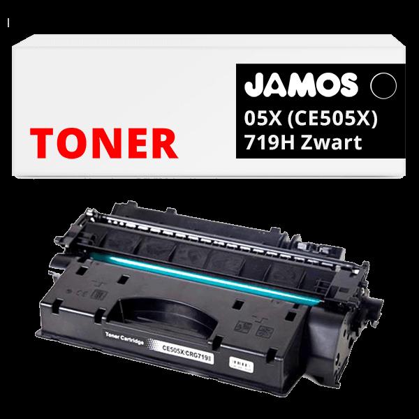 JAMOS Tonercartridge Alternatief voor de HP 05X CE505X Canon 719H Zwart