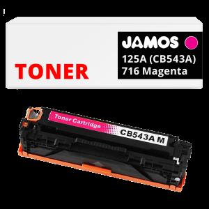 JAMOS Tonercartridge Alternatief voor de HP 125A CB543A Canon 716 Magenta