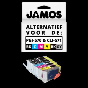 JAMOS Inktcartridges Alternatief voor de Canon PGI-570PGBK & CLI-571BKCMYGY XL Voordeelset