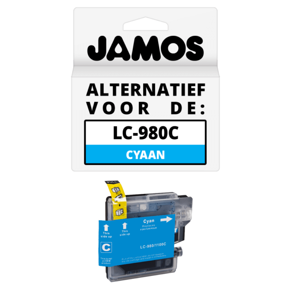 JAMOS Inktcartridge Alternatief voor de Brother LC-980C Cyaan