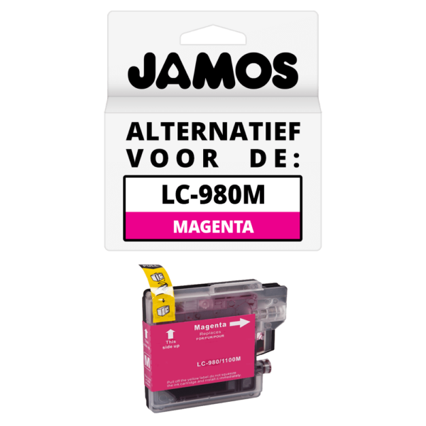 JAMOS Inktcartridge Alternatief voor de Brother LC-980M Magenta