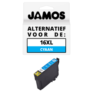 JAMOS Inktcartridge Alternatief voor de Epson 16XL Cyaan T1632