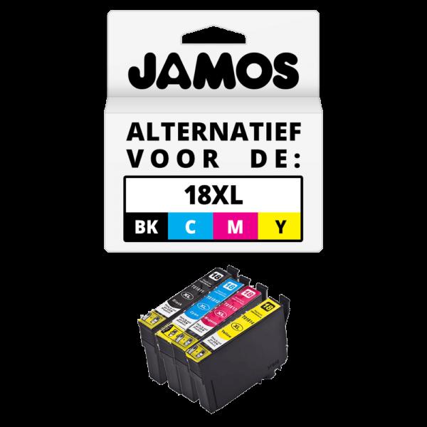 JAMOS Inktcartridge Alternatief voor de Epson 18XL Voordeelset T1816