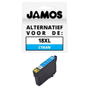 JAMOS Inktcartridge Alternatief voor de Epson 18XL Cyaan T1812