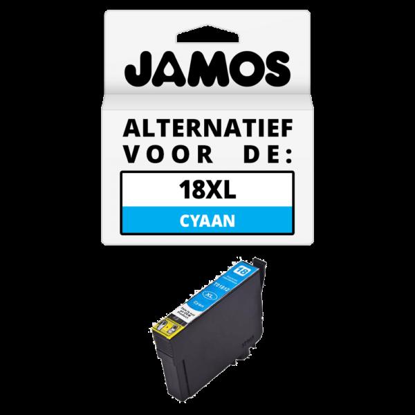 JAMOS Inktcartridge Alternatief voor de Epson 18XL Cyaan T1812