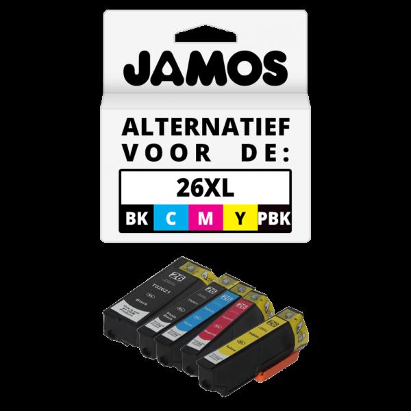 JAMOS Inktcartridge Alternatief voor de Epson 26XL Voordeelset Compleet