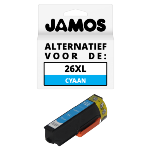 JAMOS Inktcartridge Alternatief voor de Epson 26XL Cyaan T2632