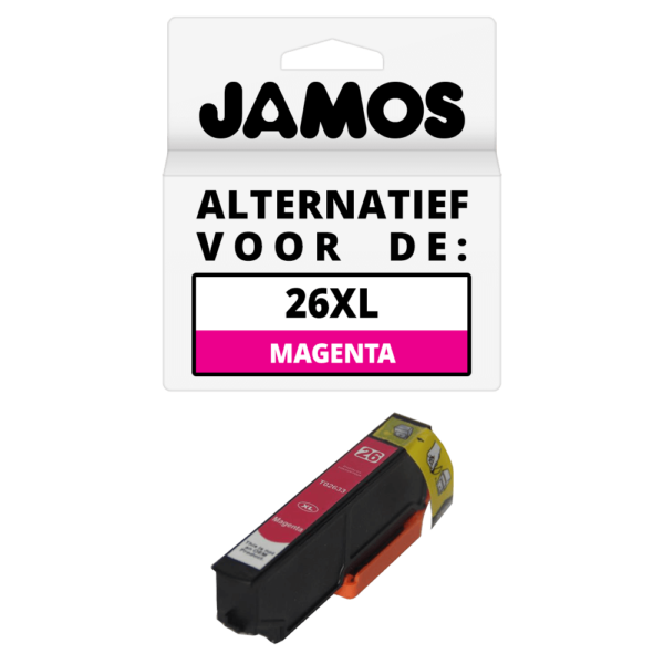JAMOS Inktcartridge Alternatief voor de Epson 26XL Magenta T2633