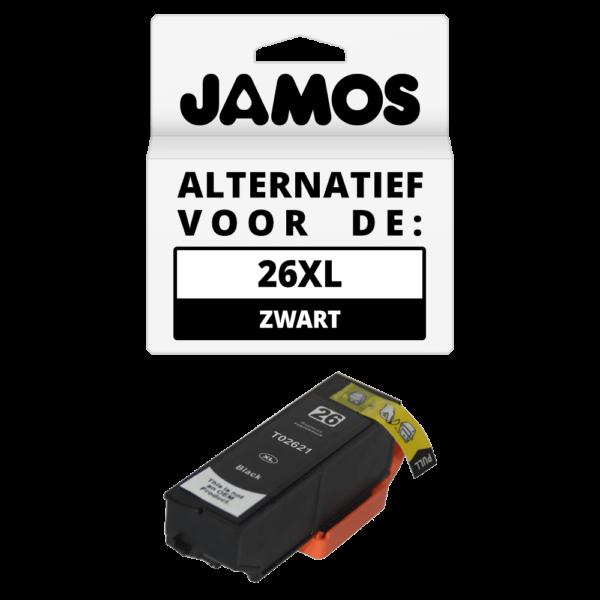 JAMOS Inktcartridge Alternatief voor de Epson 26XL Zwart T2621