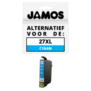 JAMOS Inktcartridge Alternatief voor de Epson 27XL Cyaan T2712