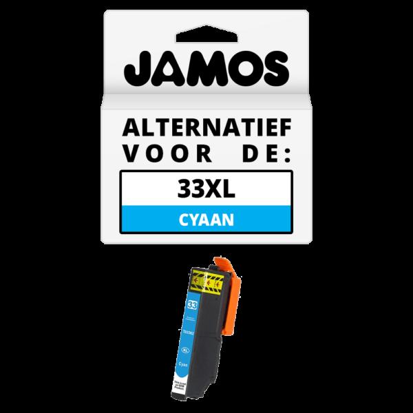 JAMOS Inktcartridge Alternatief voor de Epson 33XL Cyaan T3362