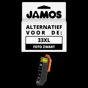 JAMOS Inktcartridge Alternatief voor de Epson 33XL Foto Zwart T3361