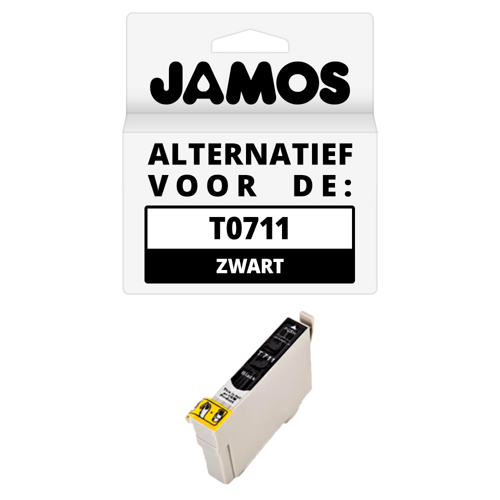 JAMOS Inktcartridge Alternatief voor de Epson T0711 Zwart