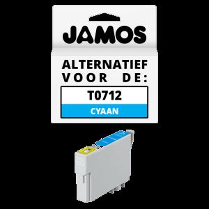 JAMOS Inktcartridge Alternatief voor de Epson T0712 Cyaan