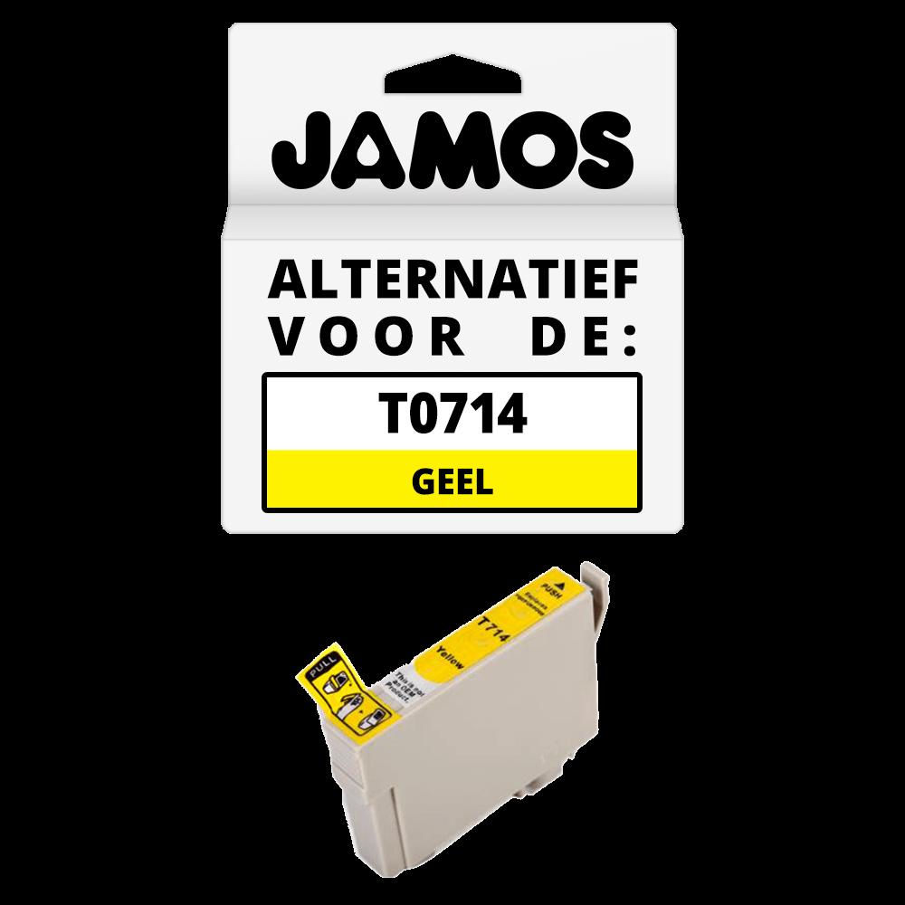 JAMOS Inktcartridge Alternatief voor de Epson T0714 Geel