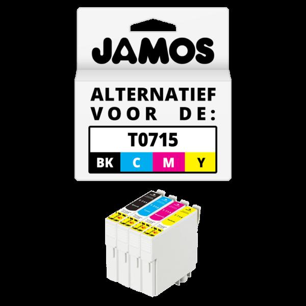 JAMOS Inktcartridge Alternatief voor de Epson T0715 Voordeelset