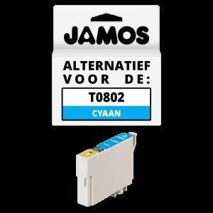 JAMOS Inktcartridge Alternatief voor de Epson T0802 Cyaan