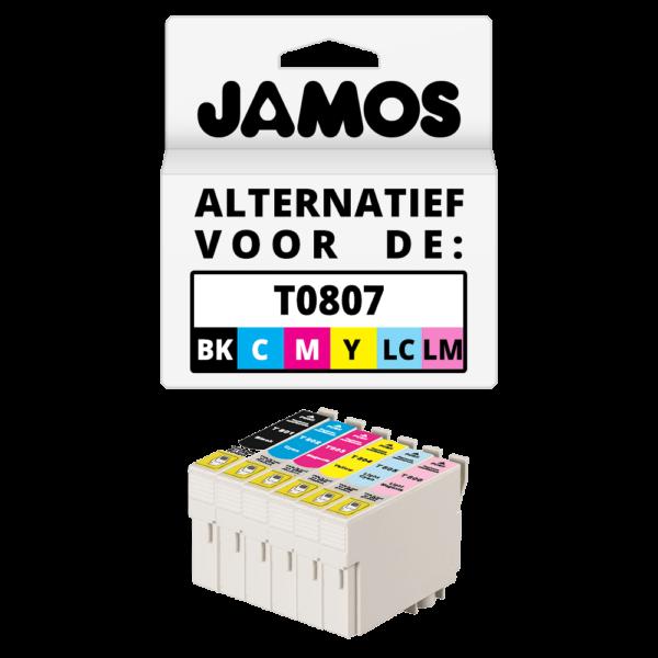 JAMOS Inktcartridge Alternatief voor de Epson T0807 Voordeelset
