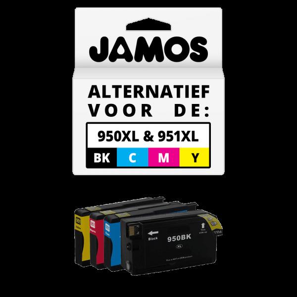 JAMOS Inktcartridge Alternatief voor de HP 950XL & 951XL Zwart & Kleuren Voordeelset