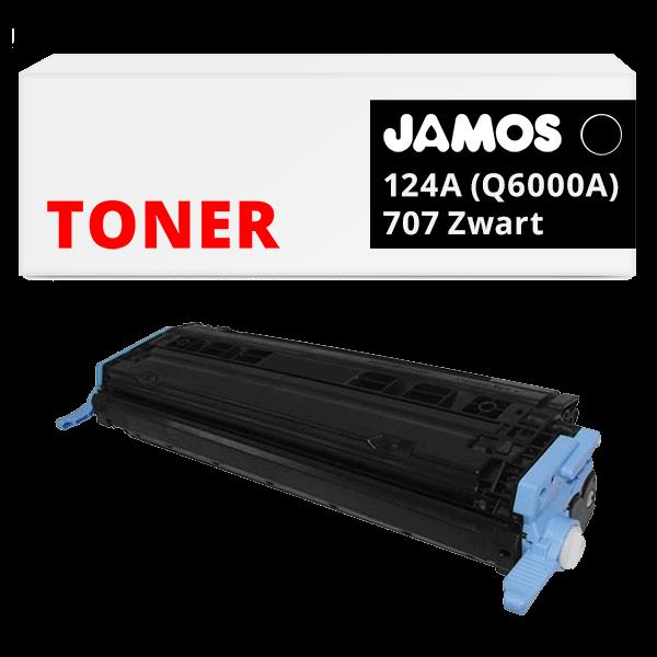 JAMOS Tonercartridge Alternatief voor de HP 124A Q6000A Canon 707 Zwart
