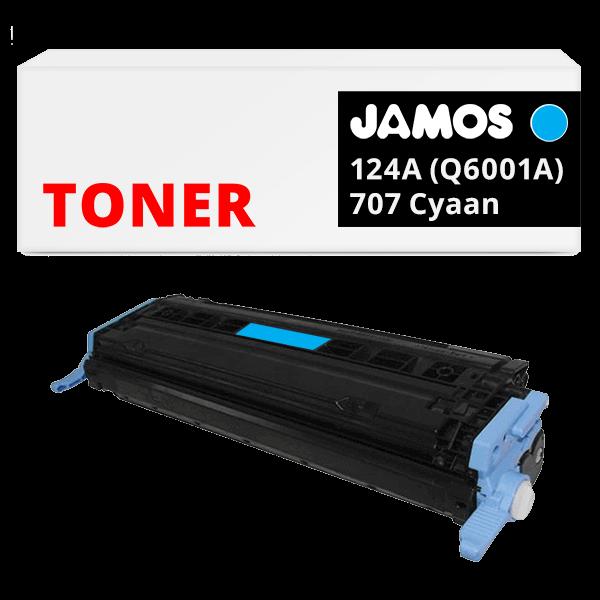 JAMOS Tonercartridge Alternatief voor de HP 124A Q6001A Canon 707 Cyaan