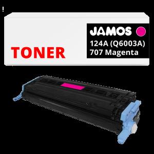 JAMOS Tonercartridge Alternatief voor de HP 124A Q6003A Canon 707 Magenta