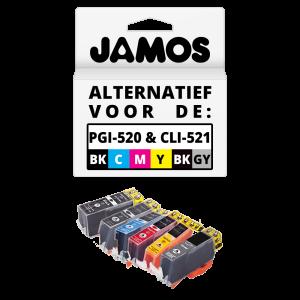 JAMOS Inktcartridges Alternatief voor de Canon PGI-520 & CLI-521 6 Voordeelset