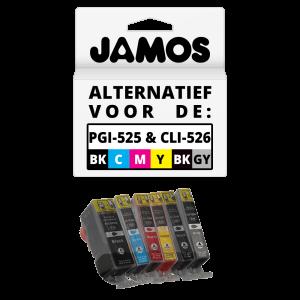 JAMOS Inktcartridges Alternatief voor de Canon PGI-525PGBK & CLI-526BKCMYGY Voordeelset