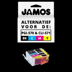 JAMOS Inktcartridges Alternatief voor de Canon PGI-570PGBK & CLI-571CMY XL Voordeelset