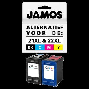 JAMOS Inktcartridge Alternatief voor de HP 21XL & 22XL Zwart & Kleuren Voordeelset