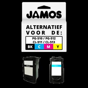 JAMOS Inktcartridge Alternatief voor de Canon PG-510 PG-512 Zwart CL-511 CL-513 Kleur Voordeelset