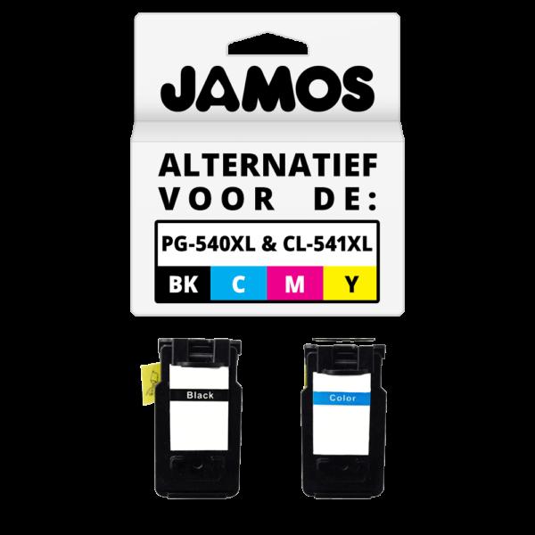 JAMOS Inktcartridge Alternatief voor de Canon PG-540 PG-540XL Zwart CL-541 CL-541XL Kleur Voordeelset