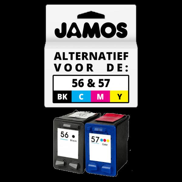 JAMOS Inktcartridges Alternatief voor de HP 56 & 57 Zwart & Kleur Voordeelset