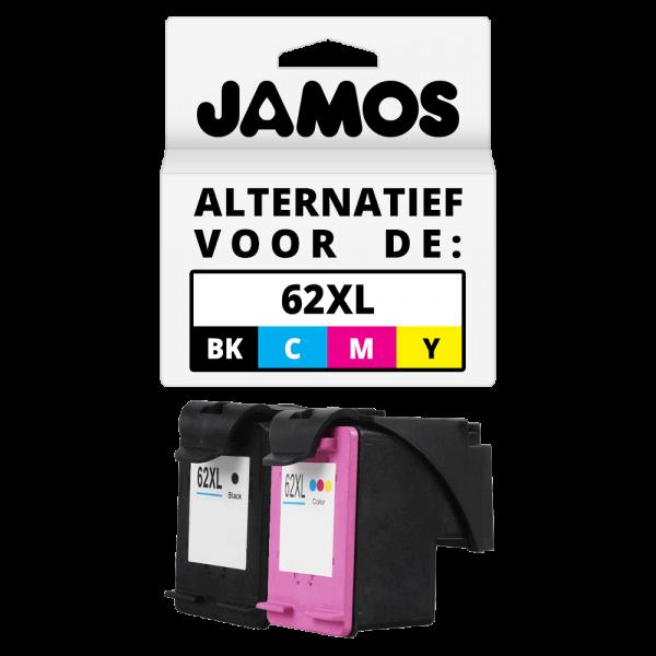 JAMOS Inktcartridge Alternatief voor de HP 62XL Zwart & Kleur Voordeelset