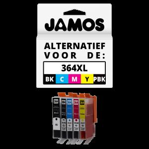 JAMOS Inktcartridge Alternatief voor de HP 364XL Zwart, Foto Zwart & Kleuren Voordeelset