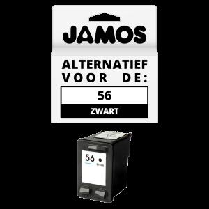 JAMOS Inktcartridge Alternatief voor de HP 56 Zwart
